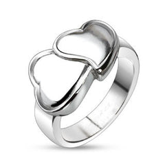 Hug My Heart – Polished stainless steel artistic double hearts ring