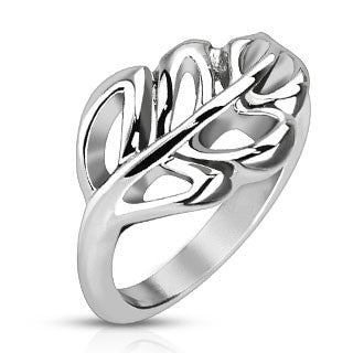 Nature's Promise - Stainless Steel Soft Edged Leaf Design Comfort Fit Ring
