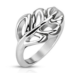Nature's Promise - FINAL SALE Stainless Steel Soft Edged Leaf Design Comfort Fit Ring