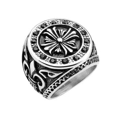 Armory - Men's Stainless Steel Celtic Cross Ring With Fleur De Lis Sides And Black CZ Stones