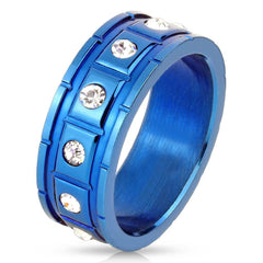 Structured Blue -Twelve cubic zirconias in raised squares blue IP stainless steel grooved men's ring
