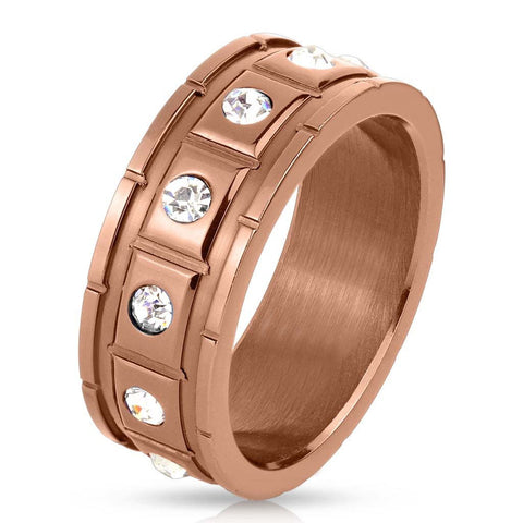 Structured Bronze - FINAL SALE Twelve cubic zirconias in raised squares bronze IP stainless steel grooved men's ring