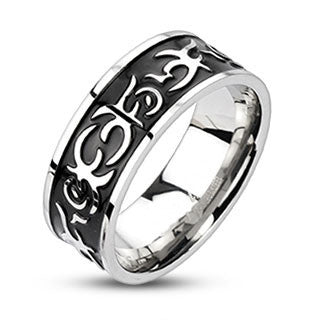 Outlaw – Black oxidized tribal fire design band stainless steel men's ring
