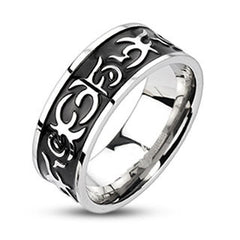 Outlaw – FINAL SALE Black oxidized tribal fire design band stainless steel men's ring