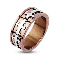 Cardinale Ring - FINAL SALE Stainless Steel Anodized Copper Color with Celtic Crosses Center Ring