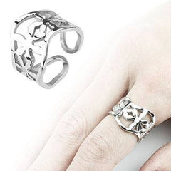 Flora - Wavy Flower Stainless Steel Design Comfort-Fit Ring
