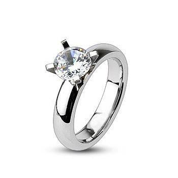 Everlove - Gorgeous Stainless Steel Comfort-Fit Engagement Ring with Cubic Zirconias