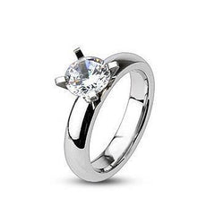 Everlove - FINAL SALE Gorgeous Stainless Steel Comfort-Fit Engagement Ring with Cubic Zirconias