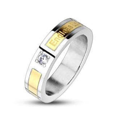 My Endless Love - White Cubic Zirconia Gold Silver Stainless Steel Engraved Endless Love Anniversary Band
