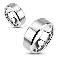 Simplicity - 4mm, 6mm, 8mm Brushed Metal Beveled Edge Stainless Steel Ring