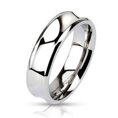 Illusion - Silver stainless steel concave surface couples ring