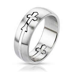 Loyalty -  Artistic Cut Out Double Cross Design Stainless Steel Dome Band