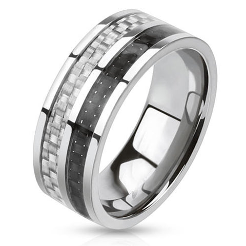 Cocktail Hour - Double carbon fiber black and white inlaid silver stainless steel men's ring
