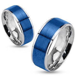 Stratosphere - FINAL SALE Brushed blue IP and silver stainless steel his and her ring with step edges
