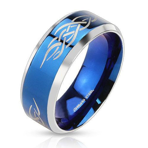 Blue Tribal Shaman - Polished blue IP and silver stainless steel men's ring with fire tribal inlay