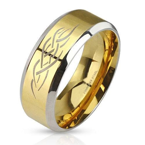 Gold Tribal Shaman – Brushed gold IP and silver stainless steel men's ring with fire tribal inlay