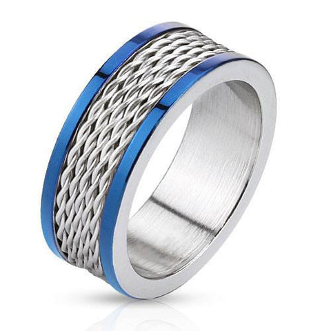 Blue Cyclone - Blue IP and silver stainless steel ring with stacked wire inlay and polished edges