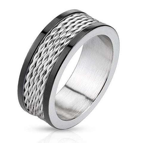 Silver Cyclone – Black IP and silver stainless steel ring with stacked wire inlay and polished edges