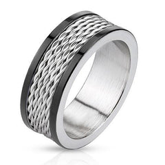 Silver Cyclone – FINAL SALE Black IP and silver stainless steel ring with stacked wire inlay and polished edges