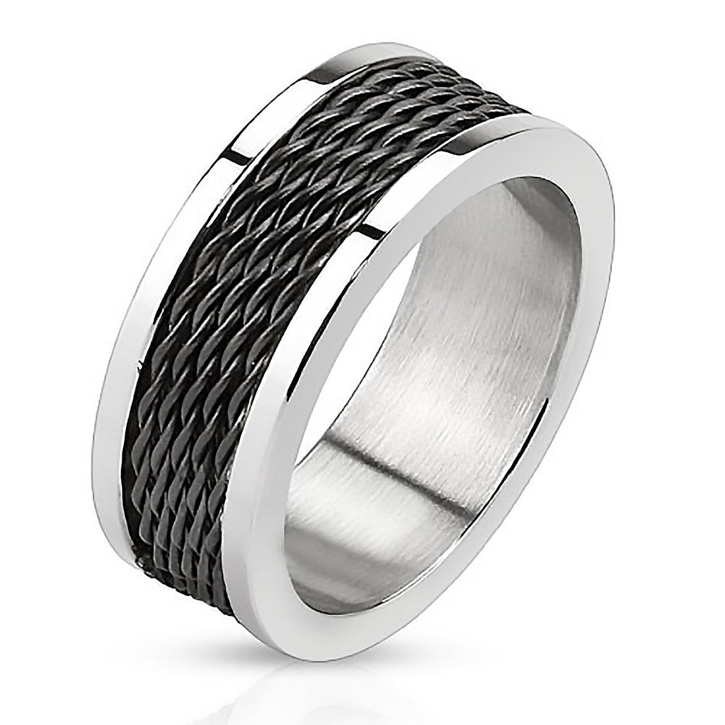 Black Cyclone - FINAL SALE Black IP and silver stainless steel ring ...