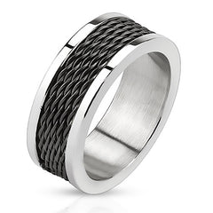Black Cyclone – Black IP and silver stainless steel ring with stacked wire inlay and polished edges