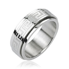 Spin Doctor - FINAL SALE Tribal Inspired Design Spinner Stainless Steel Ring