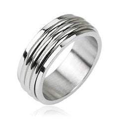 Groovy Spin - Triple grooved band men's spinner ring in silver stainless steel