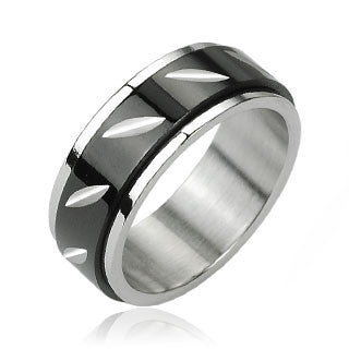 Revolution - Black Face-Cut Center Spinner Stainless Steel Ring