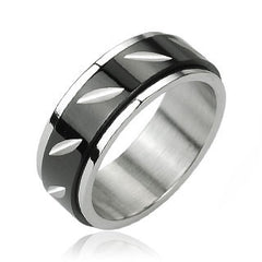 Revolution - FINAL SALE Black Face Cut Center Spinner Stainless Steel Ring