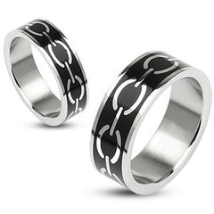 Linked in Love Black - Silver and Black Stainless Steel Couples Ring with Black Enamel and Love Links Pattern