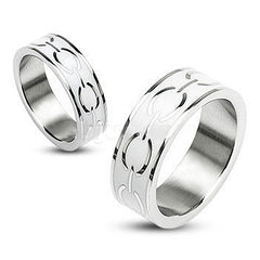 Moon Dust - Color Of Abundance Both Spiritual and Physical Silver and White Stainless Steel Band