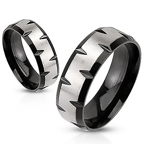 Black Magma - FINAL SALE Modern Black and Stainless Steel Ring with Faceted Edges
