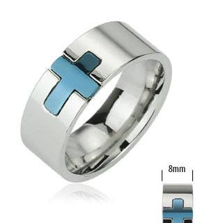 True Blue Cross - Faith blue IP cross silver stainless steel men's ring LIMITED SUPPLY