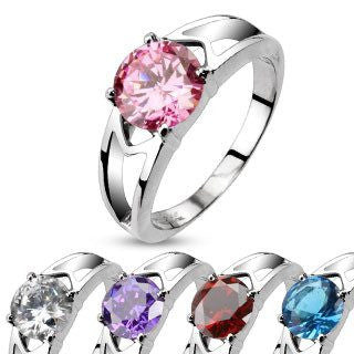So In Love - Aqua, red, purple, white or pink solitaire cubic zirconia ring in stainless steel