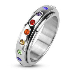 Freedom – High Shine Stainless Steel Multi-Colored Rainbow Cubic Zirconia Center Spinner Commitment Ring
