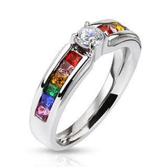 Celebration - Stainless Steel Engagement Ring with Clear Center Gem and Rainbow CZs