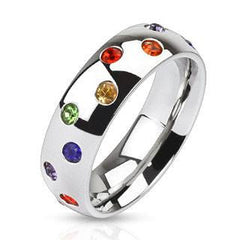 Rainbow Drops - Polished stainless steel multi colored rainbow cubic zirconia studded commitment ring