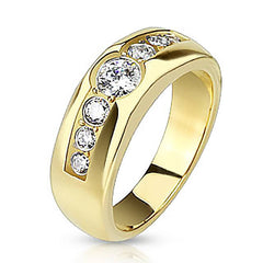 Artistry - Seven Beautiful Cubic Zirconias Gold IP Stainless Steel Engagement Ring