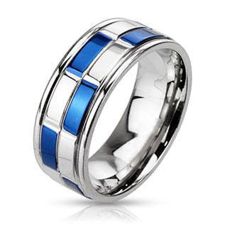 Checkmate - Highshine Blue and Silver Stainless Steel Two Tone Checkered Pattern Band