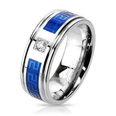 Blue Dionysus - Silver and Blue Stainless Steel Greek Key Maze Design Cubic Zirconia Wedding Band