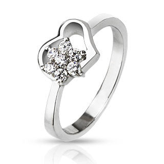 Heart in Bloom – Pretty Floating Heart Design with White Cubic Zirconia Flower in Stainless Steel Ring