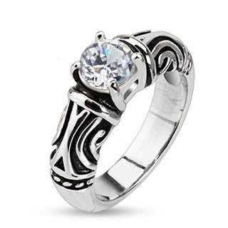Tribal Princess - White round cut cubic zirconia solitaire tribal design stainless steel ring