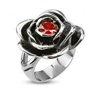 Everlasting Rose - Nature Inspired Rose Design Filled with Red Cubic Zirconia Stainless Steel Comfort-Fit Ring