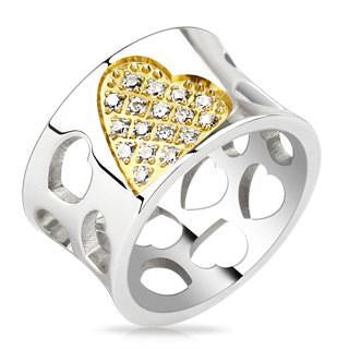 Love Celebration– Wide Polished Stainless Steel Cut-Out Heart Design Band with Gold Center Heart Studded White Cubic Zirconias