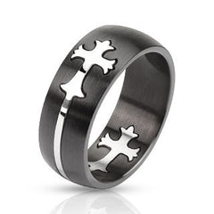 Purpose - Bold Two Tone Black and Silver Stainless Steel Cut Out Cross Design Ring