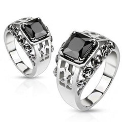 Black Rose Royal - Black square cut gemstone Fleur De Lis and Roses stainless steel ring