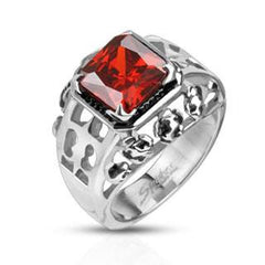 Rose Royal - Delicate Design Stainless Steel Comfort-Fit Ring with Deep Red Gem Stone