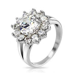 Sparkle Blossom - Cubic Zirconia's Flower Design Stainless Steel Engagement Ring