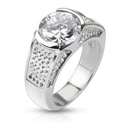 Winter Wonderland– Sophisticated Wide Stainless Steel Band with Large Round-Cut Center Cubic Zirconias