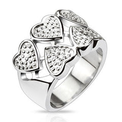 Heart to Heart - FINAL SALE Chunky Style Wide Silver Stainless Steel Band with Five Solid Hearts and Heart Cut-Outs